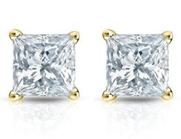 Wholesale Diamonds 1ct - 1Ct Princess Cut Diamond Stud Earrings 18K Yellow Gold Prong Setting