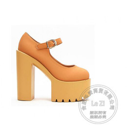Wholesale Sexy Platform Shoes For Sale - Sexy Nightclub Single Glossy Ladies Gladiator Ultra Extreme High Thick Heel Women Platform Shoes Heels For Sale Black Round Toe