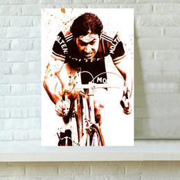 Wholesale Popular Paintings - HD Printed Sports Art Oil Painting Home Decoration Wall Art on Canvas Popular Singer Eddy Merckx Cycling 16x24inch
