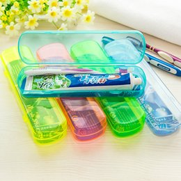 Wholesale Toothpaste Wholesale Supplies - Transparent Toothbrush Storage Box Portable Toothpaste Case Plastic Outdoor Tableware Box 21cm Travel Supply