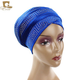Wholesale Wholesale Purple Beanie Hats - 2017 New fashion women diamante Velvet Turban Long Head Wraps women luxury Hijab HeadScarf head scarf turbante