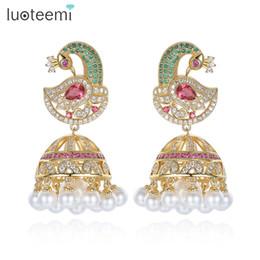 Antique Indian Indien Jhumka Jhumki Boucles D'oreilles Avec Blanc Créé Perle Parapluie Drop Réglage Chandelier Boucle D'oreille Pour Bijoux De Mariée LUOTEEMI ? partir de fabricateur