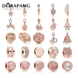 Wholesale Sterling Gold Bracelets - DORAPANG 2017 Fit Original Charm Bracelets Gilded Rose Gold color Authentic 925 sterling silver Beads Women DIY Fashion Jewelry