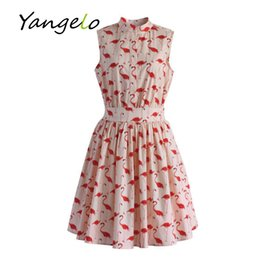 Wholesale Fun Nights - Wholesale- Vestods Summer Style 2016 Women Dress Flamingo Fun Flare Prints Casual High Waist Cute A Line Mini Dress