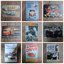 Wholesale Vintage Beatles Poster - Arey VW Beatles Vintage Craft Tin Sign Retro Metal Painting Poster Bar Pub Signs Wall Art Sticker