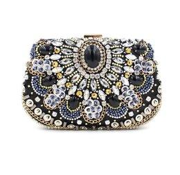 Wholesale Black Beaded Purse - Vintage Women Black Beaded Clutch Bag Sequined Diamond Handbag Bridal Wedding Party Metal Clutches Purse Minaudiere Evening Bag