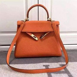 Wholesale Real Handbags - 20CM-32CM Luxury Real 100% Genuine Leather Bags Ladies Famous Brand Tote Shoulder Bags Designer Handbags High Quality Women Messenger Bags