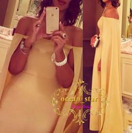 Wholesale Cloak T Shirts - Gorgeous Yellow Chiffon Prom Dresses 2017 Cloak Watteau Train Party Formal Evening Gowns Arabic Occasion Dress Sheath Off-Shoulder Celebrity