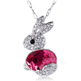 Wholesale Necklaces Bunny Rabbit - New Arrival High Quality Korean New Design Fashion Cute Rabbit Obediently Crystal Bunny Necklace Free Shipping