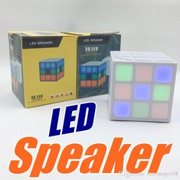 Wholesale Mini Cube Stereo Speakers - Colorful Mini Magic Cube Stereo Wireless Bluetooth Speaker LED Flashing Light Hands-free Speaker with TF Card With Retail Package 64-YX