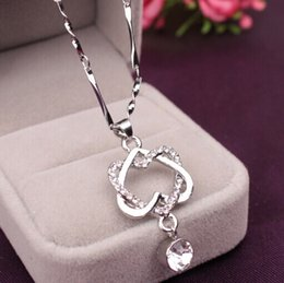 Wholesale Heart Shaped Platinum Pendant - fashion jewelry new couple's heart-shaped necklace pendant rose gold platinum plated double heart charm pendant