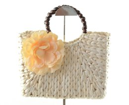 Wholesale Trend Big Bags - New trend big flower beach Straw Bags lady style tote shoulder bags with zipper and cellphone pocket personalized beach bags