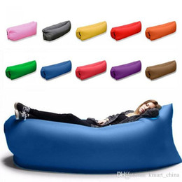 Wholesale Double Bedding Bag - 2017 Fast Inflatable Sofa Sleeping Bag Outdoor Air Sleep Sofa Couch Portable Sleeping Hangout Lounger Inflate Air Bed 250*72cm F842-1