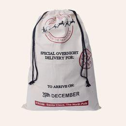 Wholesale Green Santa - 2017 Christmas Large Canvas Monogrammable Santa Claus Drawstring Bag With Reindeers Monogramable Christmas Gifts Sack Bags Christmas bag dhl
