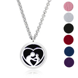 Wholesale Free Necklace Patterns - Free felt pads and chain! 30mm A Mother's Love stainless steel aroma necklace plant pattern essential oil diffuser locket pendant