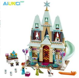 Wholesale Castle Toy For Girls - Toys 519pcs Arendelle's Castle Building Blocks Sets Princess Anna Olaf Bricks toys For Girl