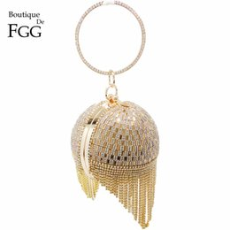 Wholesale Satin Even Bag - Wholesale- Women Wedding Dress Bridal Golden Crystal Diamond Tassel Round Evening Clutches Wristlets Handbags Metal Hard Case Clutch Bag