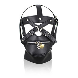 Wholesale Men Erotic Toys - Hot Sale Adult Games Zipper Mouth Latex Faux Leather Sex Mask Sexy Fetish Bondage Mask Hood with Lock Sex Toys for Couples Erotic Toys