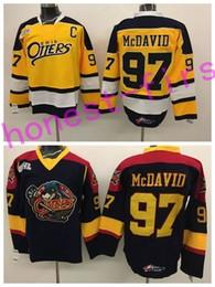 Camisetas de hockey de la universidad online-NWT Erie Otters 97 Connor McDavid College Jerseys Edmonton OHL con COA Connor McDavid Hockey sobre hielo Jerseys Hombres Color Negro Amarillo