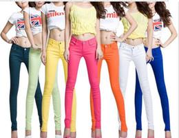 Wholesale Light Gold Leggings - HOT! New Women's Fashion Pencil pants leggings Candy Color Little feet Jeans Free shipping