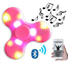 Wholesale Music Stand Led Lights - Spinner Wireless Bluetooth Music Speaker Fidget Spinner Decompression Toy Led Light EDC Plastic Fidget Toys Free Shipment with USB