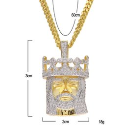 Wholesale Yellow Gold Jesus Pendant - Gold Silver Cubic Zirconia Jewelry Jesus Head Pendant Necklace Yellow Gold Plated Stainless Steel Rope Chain Jewelry