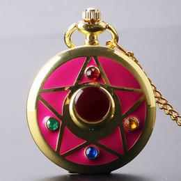 Wholesale Quartz Pocket Watch Moon - Wholesale-Golden Sailor Moon Theme Necklace Pendant Quartz Pocket Watch With Necklace Chain Girl Gift Free Shipping