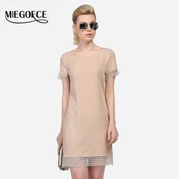 Wholesale Wholesale Insert Dress - Wholesale- MIEGOFCE 2016 summer New arrival women short dress short sleeve lace insert dress high quality European style Slim workwear