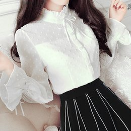 Wholesale Womens Collared Shirt Bow - European fall fashion womens white puff sleeve blouse womens tops stand up collar ruffle shirt long sleeve