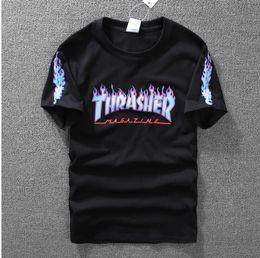 Wholesale Cool Long Women Shirt - Best quality Thrasher Short Sleeve T Shirt 2017 Summer Streetwear Tee Shirts Cool Skateboard T Shirts tee top clothing for men and women