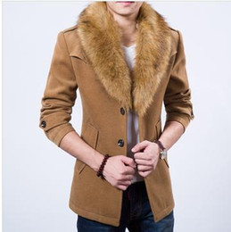 Wholesale Fur Coats Brands - Wholesale- 2015 Brand Men Wool & Blends Coat With Luxury Rabbit Fur Collar For Men trend Winter soft Medium-long all-match Trench Coat