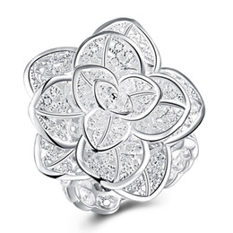 Wholesale Copper Rings Size Three - Free shipping Wholesale 925 Sterling Silver Plated Fashion three-layer flower ring Jewelry LKNSPCR116