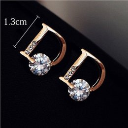 Wholesale Fine Jewelry Earrings - 2015 New !!! Super Fashion Fine Jewelry Sparkling Gold-plated Letter D Individuality Stud Earrings For Women E-21