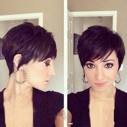 2019 perucas de classe 6a Grau 6A cabelo humano glueless cap peruca Pixie corte brasileira peruca de cabelo virgem para mulheres negras de moda perucas de classe 6a barato