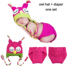Wholesale Hand Crochet Clothing - Cute Crochet Newborn Caps Girls Owl Hats Diaper Set New Baby Photo Clothes Hand Made knitted Hats