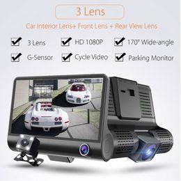 Wholesale Hd Dual Dash Cam - 4'' 1080P HD 170° 3 Lens Car DVR Dash Cam G-sensor Recorder + Rearview Camera Free Shipping