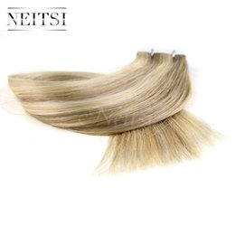 Wholesale Discount Tape Hair Extensions - Discount Neitsi 18 inch Tape in Brazilian Human Hair Extension Straight Ombre Highlight PU Skin Weft Hair Weave Hair Weft 5Colors 10pcs