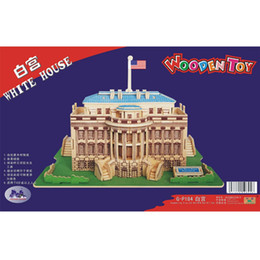 Wholesale United Stereo - Free shipping------ In 2016 year The United States of America White House wooden simulation stereo DIY assembly model educational toys