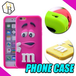 Wholesale Covers For I Phone - For I phone6 Case 3D Cartoon Cute Girl and Boy M&M's Chocolate Candy Color Rainbow Bean Soft Silicone Case Cover For many phones DHL
