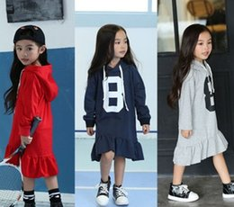 Wholesale Long Velvet Dresses Girls - Children Girls Lovely Number Flouncing Irregular Design Long Sleeve Hoodies Dress With Hat Grey Red Navy Cotton   Velvet Dress B4379