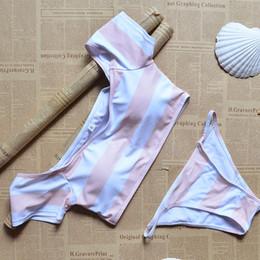 Wholesale Low Shoulder Tops - 2017 bikinis Women slash neck bikini Sexy Swimsuit low waist crop top bikini set off the shoulder Bathing Suit Striped SwimWear