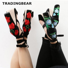 Wholesale Ladies Black Strappy Sandals - Sexy ladies sandals flower embroidery ankle wrap strappy chunky heels shoes Size 35 To 40
