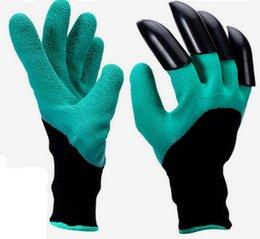 Водонепроницаемые садовые перчатки онлайн-Сад Genie перчатки с кончиками пальцев когти зеленый копать и завод безопасной обрезки перчатки сад водонепроницаемый копать перчатки DHL