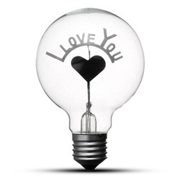Wholesale I Lamp - Vintage Edison Bulb Light Bulb E27 G80 Retro Incandescent Light Bulbs I Love You Heart Shape Art Decor Lamp Lighting AC220V