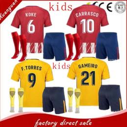 Wholesale Green Football Socks - 2017 2018 AtletIco de MadrId Home AWAY Kids Kits GODIN GRIEZMANN koke Soccer Jersey GABI Carrasco Child FOOTBALL Uniforms With Socks