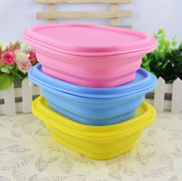 Wholesale Wholesale Candy Lunch Boxes - Silicone Lunch Box Candy Color Folding Strenched Silicone Microwave Bowl Outdoor Tableware Folding Bowl Travel Tableware OOA2709