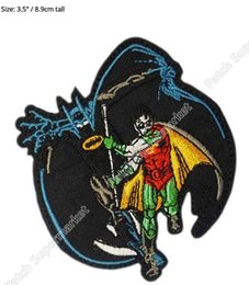 "Wholesale Robin Figure - 3.5"" Batman and Robin Figures Running Marvel Comics TV Movie Uniform punk rockabilly applique iron on patch Free Shipping"