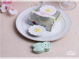 Wholesale Salt Pepper Shaker Flowers - wedding favor gift and giveaways -- Ceramic Blossom Flower Salt and Pepper Shaker party souvenir for guest 100sets lot