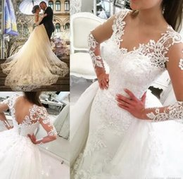 Wholesale Detachable Cap Sleeve - Fashionable 2017 Sheer Long Sleeves V-Neck Tulle Lace Appliques Wedding Dresses with Detachable Train Floor length Over Skirts Bridal Gowns