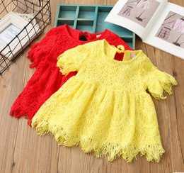 Wholesale Two Colors Summer Dress - Kids dresses shirts girls ruffle lace hollow out tassel half sleeve round neck two colors tops children fashion clothing C0436